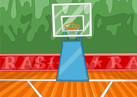 arena: Hand drawn cartoon of basketball court. Colourful cartoon of background of basketball court. Cartoon background of basketball court. Cartoon of sport arena. Background of empty basketball arena. Stock Photo