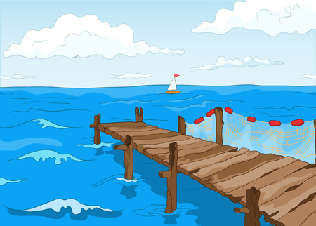 dock: Hand drawn cartoon of summer landscape. Colourful cartoon of summer background. Cartoon background of seafront with pier. Background of seascape at sunny summer day. Cartoon of blue sea with sailboat.