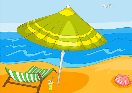beach resort: Hand drawn cartoon of summer sea landscape. Background of beach resort. Colourful cartoon of summer background. Cartoon background of tropical beach with ocean, chaise lounge and beach umbrella.
