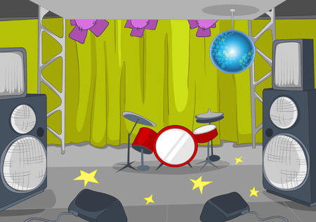 Hand drawn cartoon of nightclub interior. Colourful cartoon background of nightclub stage. Background of illuminated concert stage with musical and light equipment. Background of empty concert stage. Stock Photo