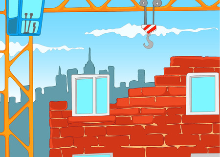 site: Hand drawn cartoon of urban construction site with crane. Colourful cartoon of house construction. Cartoon of construction of new residential house from bricks. Background of unfinished city house.