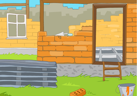 bricklaying: Hand drawn cartoon of construction site in countryside. Colourful cartoon of house construction. Cartoon of construction of new residential house from bricks. Background of unfinished brick house.