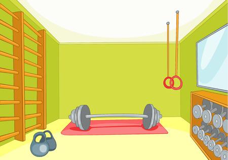 gym room: Hand drawn cartoon of gym room. Cartoon background of gym room. Cartoon of fitness center interior. Background of fitness gym room interior with barbell and weight. Cartoon of gym with equipment. Stock Photo