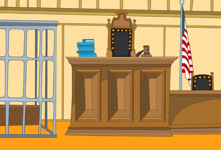 Hand getekende cartoon van de rechtbank interieur. Kleurrijke cartoon van de rechtszaal. Achtergrond van de rechtszaal interieur. Cartoon van lege rechtszaal met keurmeester stoel en een tafel. Cartoon van vintage rechtszaal met kooi.