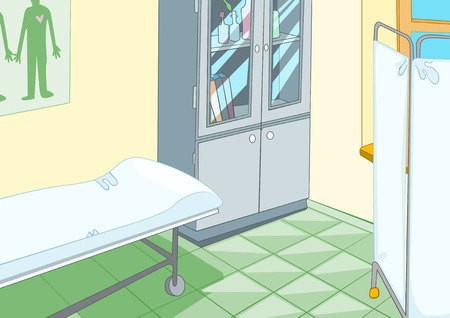 recovering: Hand drawn cartoon of medical background. Colourful cartoon of hospital ward interior. Background of doctor office. Cartoon of doctor office with examination table. Background of examination room.