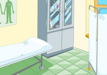 hospital ward: Hand drawn cartoon of medical background. Colourful cartoon of hospital ward interior. Background of doctor office. Cartoon of doctor office with examination table. Background of examination room.
