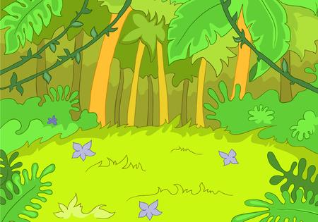 Hand drawn cartoon of summer landscape. Colourful cartoon of summer background. Cartoon background of summer forest. Cartoon of forest glade with flowers. Cartoon of rain-forest landscape.