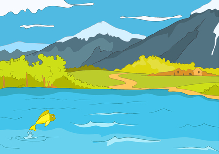 Hand drawn cartoon of summer landscape. Colourful cartoon background of mountain lake in summer. Cartoon of lake in mountains. Background of mountain landscape with lake. Cartoon of mountains panorama Stock Photo