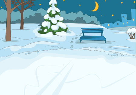 skating rink: Hand drawn cartoon of winter landscape. Cartoon of winter background. Background of winter park. Cartoon of outdoor ice skating rink. Background of small frozen pond in the winter forest at night.