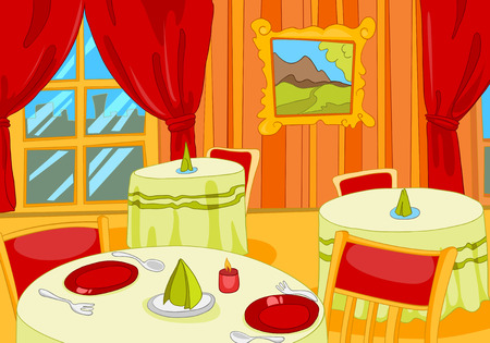 Hand drawn cartoon of luxury restaurant interior. Colourful cartoon of classic restaurant. Cartoon background of restaurant interior with decorated tables. Cartoon of restaurant hall interior.
