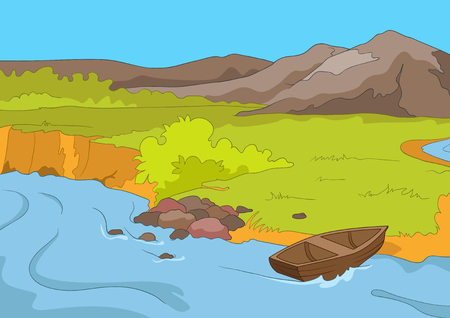 Hand drawn cartoon of summer landscape. Colourful cartoon background of mountain river in summer. Cartoon of lake in mountains. Background of mountain landscape with lake. Cartoon of mountain panorama Stock Photo