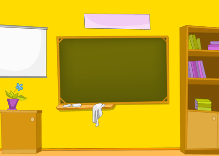 Hand drawn cartoon of schoolroom interior. Colourful cartoon of background of schoolroom. Background of classroom interior. Cartoon background of classroom with blackboard and bookcase.
