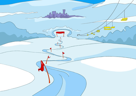 slope: Hand drawn cartoon of infrastructure for winter sports. Cartoon background of mountains ski resort. Cartoon of snowboard and ski park. Background of ski lift and slope in ski resort in the mountains.