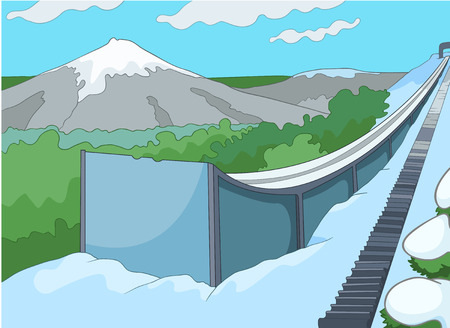 uphill: Hand drawn cartoon of infrastructure for winter sports. Cartoon background of ski resort. Cartoon of ski springboard. Cartoon of snowboard and ski park in sunny day. Background of slope in ski resort