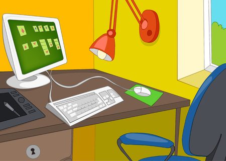 home office interior: Hand drawn cartoon of modern office interior. Colourful cartoon of office workplace with computer. Background of office interior. Cartoon of home office room. Cartoon of office interior with workplace
