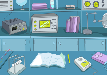 place of research: Hand drawn cartoon of physics laboratory. Colourful cartoon of physics laboratory workplace with equipment for physics experiments. Background of working place of scientist in research laboratory.
