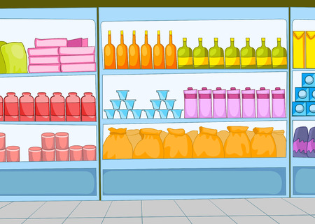 aisle: Hand drawn cartoon of supermarket interior. Colourful cartoon of background of grocery store with product shelves. Cartoon background of supermarket aisle. Cartoon of supermarket shelves with goods. Stock Photo
