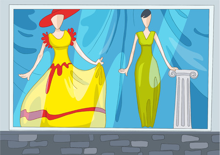 shop show window: Hand drawn cartoon of clothes shop. Colourful cartoon background of clothing shop. Background of clothing shop with mannequins. Cartoon of boutique window. Background of showcase of clothing shop.