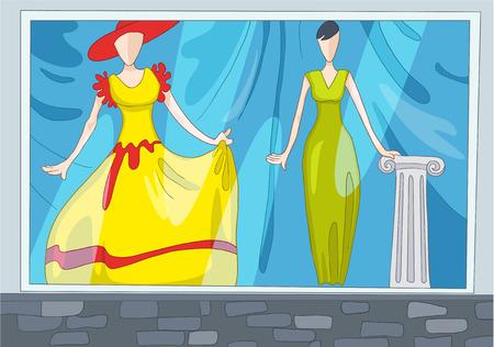 Hand getekende cartoon van kledingwinkel. Kleurrijke cartoon achtergrond van de kleding winkel. Achtergrond van de kleding winkel met mannequins. Cartoon van boutique venster. Achtergrond van de showcase van de kleding winkel. Stockfoto