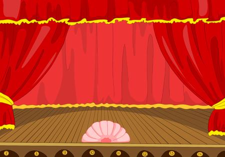 극장 무대의 손으로 그려진 된 만화입니다. 빈 콘서트 무대 만화 배경입니다. 커튼 및 스포트 라이트와 함께 무대의 배경의 다채로운 만화. 연극 장면
