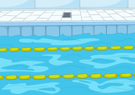 competitions: Hand drawn cartoon of sport infrastructure. Cartoon background of indoor swimming pool. Background of professional swimming pool with blue water. Background of swimming pool with lanes for competition