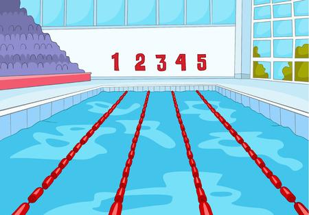 手には、スポーツのインフラの漫画が描かれました。屋内スイミング プールの漫画の背景。青い水とプロのスイミング プールの背景。競争のための