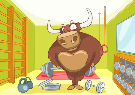 gym room: Hand drawn cartoon of gym room with bull. Cartoon background of gym room with bull character. Cartoon of fitness gym room interior with weights. Cartoon of bull bodybuilder working out in the gym. Stock Photo