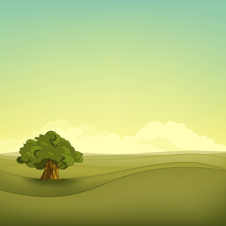Hand drawn cartoon of summer landscape. Colourful cartoon of summer background. Background of field with tree. Cartoon of green meadow. Cartoon of alone tree in meadow. Background of nature landscape. Stock Photo