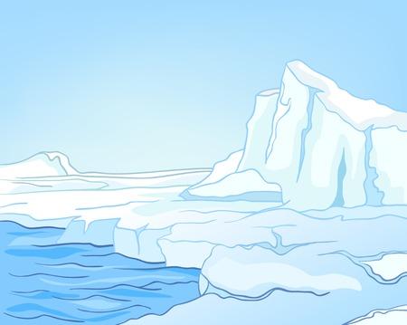手には、冬の風景の漫画が描かれました。冬の背景のカラフルな漫画。氷河と氷河湖の漫画。雪の中で氷河の背景。氷河や雪をかぶった山々。