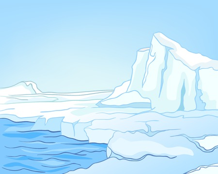 background antarctica: Hand drawn cartoon of winter landscape. Colourful cartoon of winter background. Cartoon of glacier and glacier lake. Background of glacier in the snow. Background of glacier and snow capped mountains.
