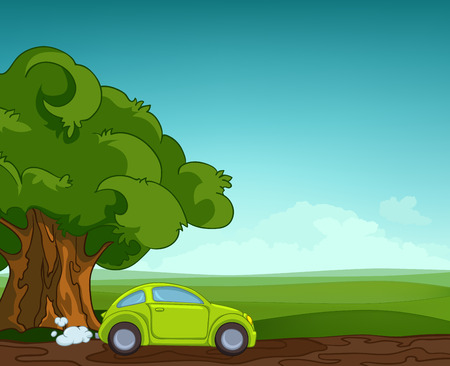 Hand drawn cartoon of summer landscape. Colourful cartoon of summer background. Background of field with tree and car. Cartoon of alone tree in green meadow. Background of summer nature landscape.