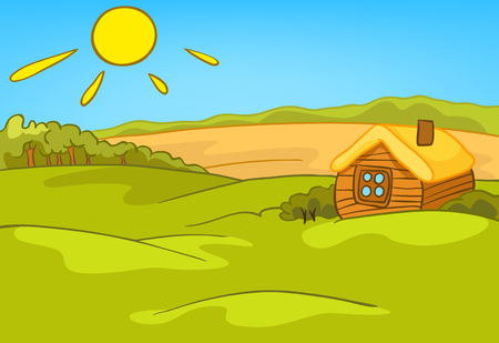 Hand drawn cartoon of countryside summer landscape. Colourful cartoon of sunny summer background. Cartoon of landscape of countryside with house and field. Cartoon bachground of nature landscape.