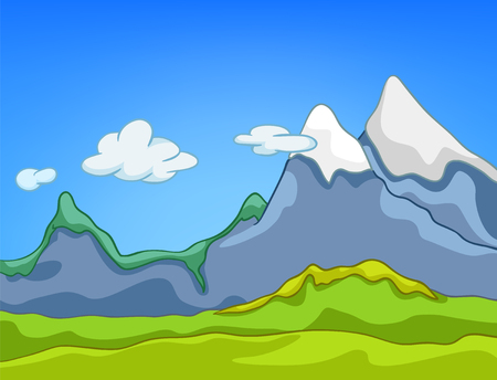 Hand drawn cartoon of summer landscape. Colourful cartoon background of mountains landscape in summer. Cartoon of nature landscape. Background of mountains landscape. Cartoon of mountains panorama.