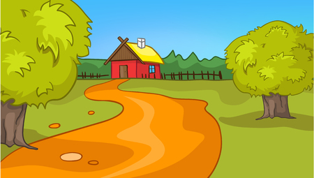 rural road: Hand drawn cartoon of countryside summer landscape. Colourful cartoon of sunny summer background. Cartoon of landscape of countryside with house and road. Cartoon bachground of nature landscape.