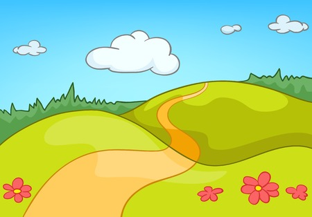 Hand drawn cartoon of countryside summer landscape. Colourful cartoon of summer background. Cartoon of landscape of countryside. Bachground of nature landscape. Cartoon of green valley landscape.