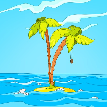 Hand drawn cartoon of sea landscape. Background of sea island. Colourful cartoon of tropical island in the ocean with coconut palm. Background of uninhabited tropical island surrounded by the sea.