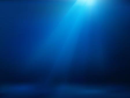 Hand drawn cartoon of sea landscape. Colourful cartoon of undersea. Cartoon background of underwater landscape. Background of empty blue underwater. Cartoon of rays of sunlight shining into sea.