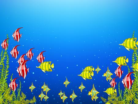underwater world: Hand drawn cartoon of sea landscape. Colourful cartoon of underwater life. Background of underwater world. Cartoon of algae and fishes on a blue sea background. Cartoon of underwater landscape.