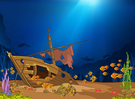 Hand drawn cartoon of sea landscape. Colourful cartoon of underwater life. Cartoon of underwater world. Cartoon of wreck with alga and fish on a blue sea background. Cartoon of underwater landscape.