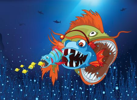 underwater world: Hand drawn cartoon of sea landscape. Colourful cartoon of underwater life. Cartoon of underwater world. Cartoon of fishes eating each other on a blue sea background. Cartoon of underwater landscape.