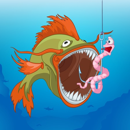 Hand drawn cartoon of sea landscape. Colourful cartoon of underwater life. Cartoon of underwater world. Cartoon of fish going to eat a worm attached to the hook. Cartoon of underwater landscape. Stock Photo