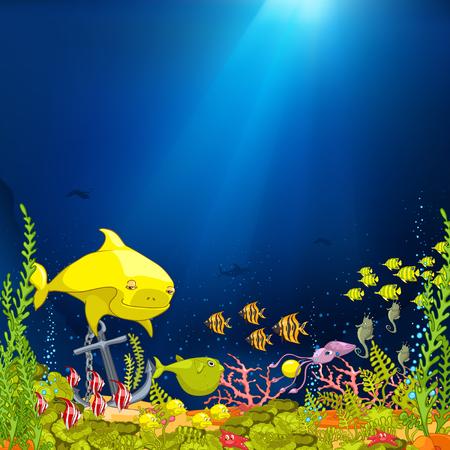 sea landscape: Hand drawn cartoon of sea landscape. Colourful cartoon of underwater life. Cartoon of underwater world. Cartoon of coral reef with alga and fish on sea background. Cartoon of underwater landscape.