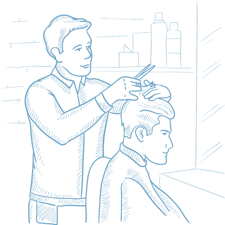 barbershop: Barber cutting hair of young man at barbershop. Barber at work. Professional barber making haircut to a client with scissors in barbershop. Hand drawn vector sketch illustration on white background.