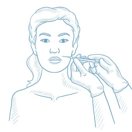 女性サロンで顔の美容注射を取得します。女顔の美プロシージャの間に。女性美の顔面注射を受けたします。白地に手描きベクター スケッチ図  イラスト・ベクター素材