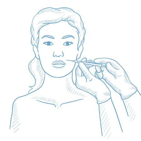 injections: Woman getting cosmetic injection in her face in beauty salon. Woman during beauty facial procedures. Woman receiving beauty facial injections. Hand drawn vector sketch illustration on white background
