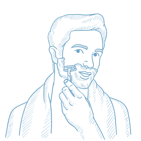 Man shaving his face. Man with shaving cream on his face and razor in hand. Man prepping face for daily shaving. Concept of daily hygiene. Hand drawn vector sketch illustration on white background.
