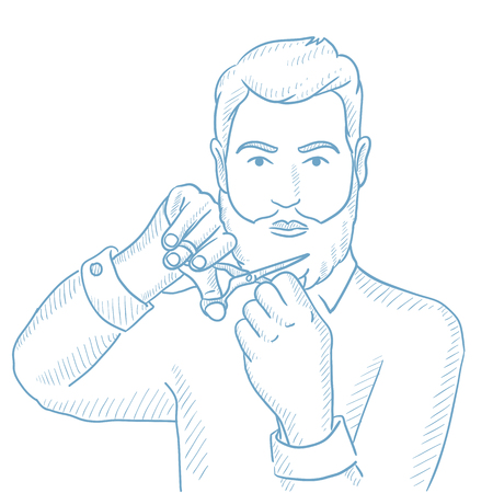 Caucasian unshaven man with long beard and moustache holding sharp scissors. Young hipster man cutting his beard and moustache with scissors. Hand drawn vector sketch illustration on white background. Illustration