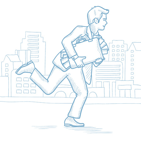 bribery: Cheerful businessman running in the city with a briefcase full of money. Caucasian businessman carrying briefcase overflowing with money. Hand drawn vector sketch illustration on white background. Illustration