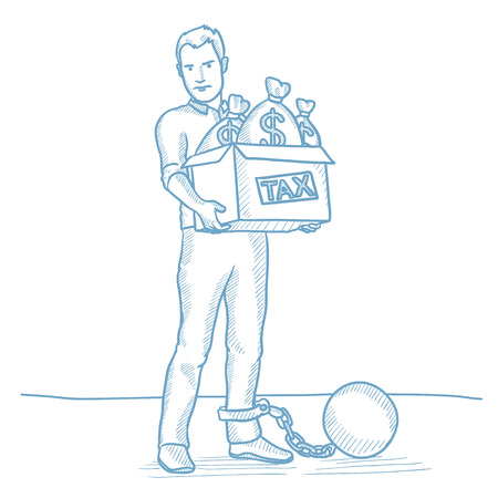 taxpayer: Chained to a large ball taxpayer carrying heavy box with bags full of taxes. Caucasian businessman taxpayer. Concept of tax time and taxpayer. Hand drawn vector sketch illustration on white background