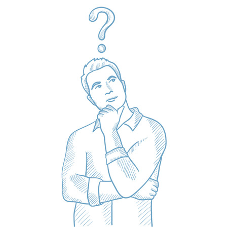 Thinking businessman with question mark above his head. Young businessman thinking. Thoughtful businessman standing under question mark. Hand drawn vector sketch illustration on white background. Vettoriali